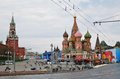 May day celebration in moscow view of kremlin and red square decorated for spring and labor russia Stock Images