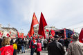 May day demonstration moscow workers or labour celebrations in moscow russia Stock Photos