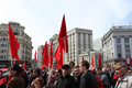 May day demonstration moscow workers or labour celebrations in moscow russia Stock Images