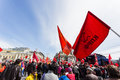May day demonstration moscow workers or labour celebrations in moscow russia Royalty Free Stock Image
