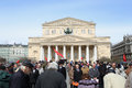 May day demonstration moscow workers or labour celebrations in moscow russia bolshoi theatre Royalty Free Stock Images