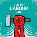 1 may Happy labour day vector label with strong red fist on torquise background . labor day background or banner with