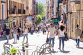 11 MAY 2016. People at the central streets of Palma de Mallorca, Royalty Free Stock Photo