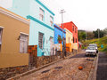 May street in bo kaap bright colors cape town sout malay quarter south africa before rain Stock Image