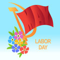 1 May Worker's Day. International Labor Day, Mayday. Red flag, h