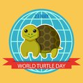 May 23. World Turtle Day. Poster with turtle