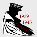 9 may World War 2 Remembrance Day. Silhouette a military man in raincoat. Lest We forget. Patriotism, unity, struggle