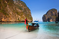 Maya bay or ao maya krabi the most beautiful beach in thailand mahya is popular for diving and movie was filmed there Royalty Free Stock Photography