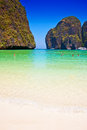 Maya bay beach on phi phi island thailand asia Stock Images