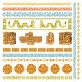 Maya civilization graphics patterns. Aztec decoration elements frames and borders, inca ancient art symbols and Royalty Free Stock Photo