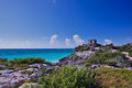 Maya ruines ancient city of tulum Royalty Free Stock Images