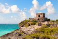Maya ruins at Tulum, Mexico. Royalty Free Stock Images