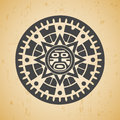 Maya sun abstract stylized symbol on beige background Royalty Free Stock Image