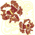 Mayan and aztec warriors vector of set of on white Royalty Free Stock Images