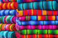 Mayan blankets textile designs on the market in chichicastenango in guatemala Royalty Free Stock Photos