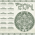 Mayan calendar vector in style Stock Photos