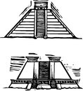 Mayan pyramids woodcut style image of the at el tajin and chichen itza in mexico Royalty Free Stock Image