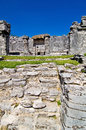 Mayan ruins maya on tulum mexico Royalty Free Stock Photos