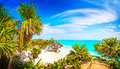 Mayan ruins tulum beach caribbean paradise vacations and tourism concept Royalty Free Stock Photo