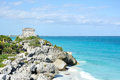 Mayan ruins at tulum in mexico on the caribbean sea Stock Photo