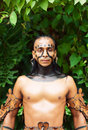 Mayan Shaman in the Xcaret Show in Mexico Royalty Free Stock Images