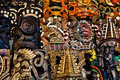 Mayan Wooden Masks for Sale Stock Image