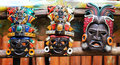 Mayan wooden masks three colorful Stock Images