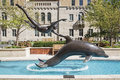 Mayo Clinic public art boy with dolphin Royalty Free Stock Photo