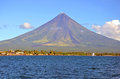Mayon volcano and albay gulf in the philippines Stock Photos
