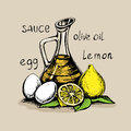 Mayonnaise sauce from vegetable oil, egg yolks and lemon juice.