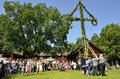 Maypole celebration torstuna sweden june people take care of at midsummer day june Stock Photos