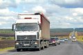 Maz bashkortostan russia july white semi trailer truck at the interurban road Stock Photo
