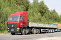 Maz chelyabinsk region russia may red semi trailer truck at the interurban road Royalty Free Stock Photos