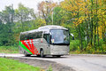Maz ufa russia september grey interurban coach at the city street Stock Photo