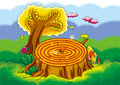 Mazeï šthe tree rings interesting little ant was walking maze Royalty Free Stock Image
