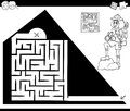 Maze activity game with traveler and pyramid