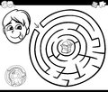 Maze with boy and cake for coloring Royalty Free Stock Photo