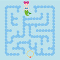 Maze children game. help the mermaid go through the labyrinth and find treasure