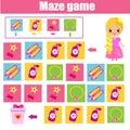 Maze game. Kids activity sheet. Logic labyrinth with code navigation