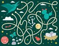 Maze for children. Preschool activity with dinosaur. Puzzle game with pterodactyl, clouds, eggs in nest, bones, butterfly, bird,