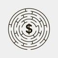 Maze circular inside dollar puzzle gray Royalty Free Stock Photo