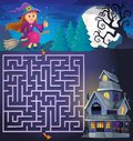 Maze 3 with cute witch and haunted house Royalty Free Stock Photo