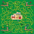 Maze earthworms a game for children and adults find their way into the room Stock Image