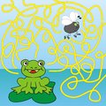 Maze frog and fly child s play labyrinth Royalty Free Stock Photography