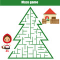 Maze game for children: fairytales theme. Help Red Riding Hood find way to house Royalty Free Stock Photo
