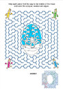 Maze game and coloring page - pencils and octopus