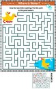 Maze game with ducklings and pond