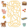 Maze game (farm animals and food). Cow, pig, chicken, horse Royalty Free Stock Photo