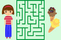 Maze Game. Help the Girl to Get Ice-Cream. Puzzle. Royalty Free Stock Photo