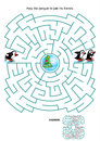 Maze game for kids skating penguins or activity page help the little penguin to join his friends answer included Stock Images